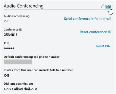 Conferance Id option in teams